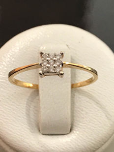 Ring in 18kt yellow gold and diamonds – size 56