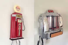 """Two Jukebox Telephones: """"Original 50's Today's Special""""  and  """"Gasoline  highway"""" - 20th century"""