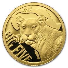 Cameroon - 100 francs 2017 . Big Five - Leopard - Proof - 999 gold / gold coin
