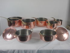 Tagus - 5 Copper cookware / sauce pans - 2 pans with lid