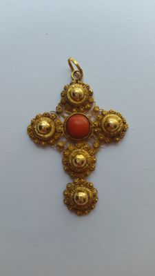 Filigree cross pendant with red coral