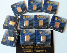 10 pcs. gold bars, each 0.10g Nadir PIM Gold fine gold, 999.9/1000 gold, 24 Karat Goldbarren, Goldcard, LBMA certified