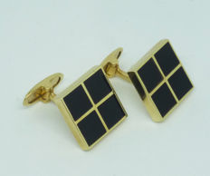 Men's Cufflinks with onyx in 14kt yellow gold