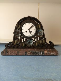 Art Deco clock in wrought iron on marble base