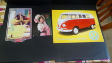 Lot of 3 metal advertising plates of Coca Cola and Volkswagen 80s