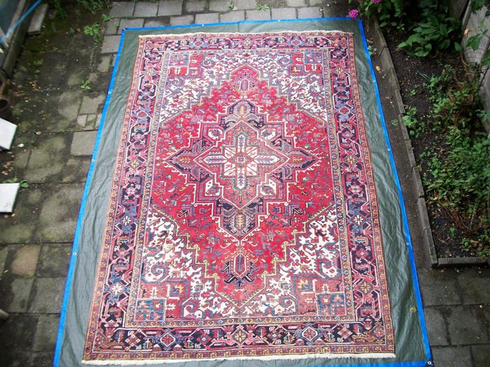 Hand-knotted, Persian carpet, Heriz – genuine Heriz – 357 x 238 – around 1950