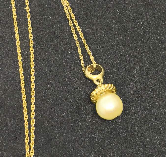 Simmons Vintage 10 mm Cultured Pearl Necklace in 14K Gold