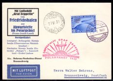 German Empire - zeppelin post 1931 - polar journey airmail 1931, 2RM blue on card to Malyguin/North Pole, Michel 457