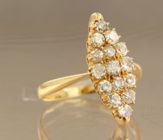 20 kt red gold marquise ring with Bolshevik cut diamonds