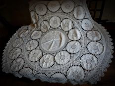 A full hand made tablecloth - Crochet, embroidery, openwork