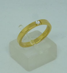 18kr yellow gold ring with diamond 0,07ct - size 54