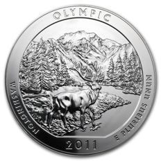 United States - US Mint - America the Beautiful - Olympic National Park 2011 - large 5 oz 999 silver coin