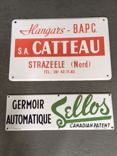 Lot of 2 French Enamel signs CATTEAU and Sellos