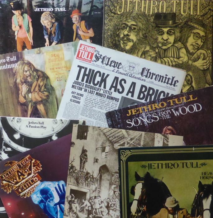 Lot of 9 early Jethro Tull albums; including first press (German, Pink Eye) Stand Up, with pop-up cover, This Was, Aqualung, Thick As A Brick, etc.