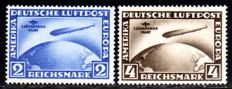 "German Empire 1930 - ""1st  South America journey, zeppelin 2RM blue and 4RM brown"" - Michel 438/439"