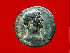 Roman Empire - Hadrian (117 - 138 A.D.) bronze sestertius (26,92 g. 33 mm.). Rome mint. 118 A.D. PONT MAX TR POT COS II, Fortuna enthroned.