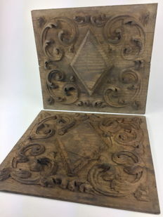"Two hand carved wooden relief panels ""Rhombus and flowers"" - last quarter XIX century, France"