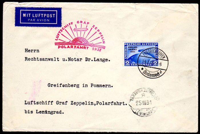 German Reich - 1931 - Zeppelin letter from the polar journey with 2 RM, Michel 457 EF tested Schlegel BPP