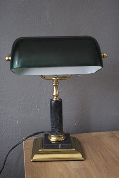 Beautiful copper notary/banker's lamp decorated with marble - England - 2nd half 20th century