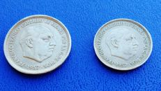 Spain – Lot of two coins of 25 and 50 pesetas, 1957, Franco, Barcelona BA 'UNUSUAL' (9).