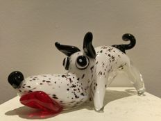 Happy glass dog with lolling tongue - solid glass - 1.9 kg
