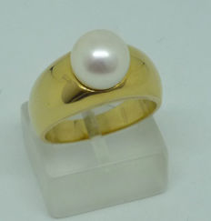 18K Gold pearl solitaire ring