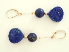 Lapis lazuli earrings made of 585 gold, length: 6 cm