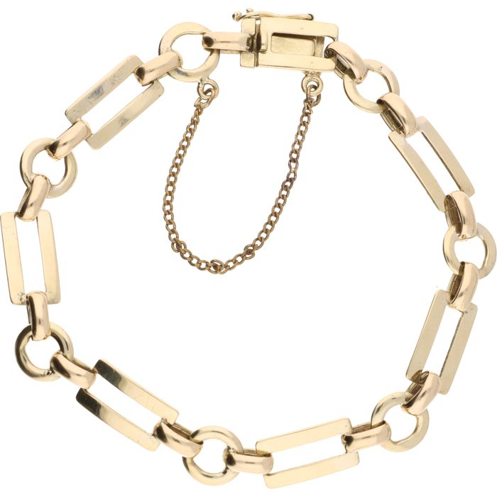 14 kt Yellow gold link bracelet equipped with a box clasp with a safety chain - length: 19.2 cm