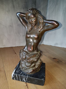Statue; Naked nymph in erotic pose-2nd half of 20th century
