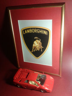 Theme set. Power & Beauty ,,. LAMBORGHINI logo in the image .LAMBORGHINI advertisement. Model LAMBORGHINI Diablo 1990