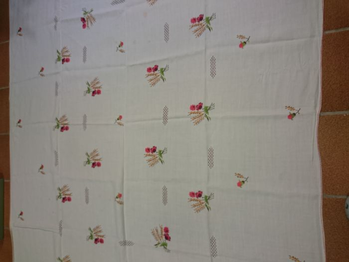 Large handmade fine embroidered tablecloth