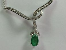 18kt white gold necklace with diamonds and emerald - 42cm lond
