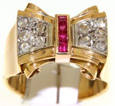yellow gold/ platinum with rose cut diamonds - 18 kt. / size 60