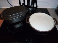 Vintage Lauffer oblong pot with cover lid & round pan