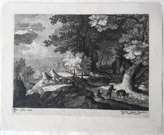 Roelant Savery ( 1576 - 1639) engraved by Aegidius Sadeler II (1570 - 1629) - Landscape with bridge & traveller with his donkey - c.1600