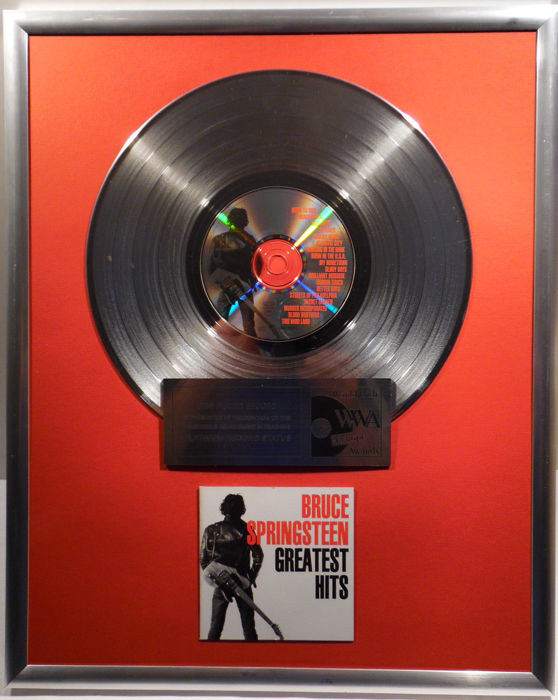 "Bruce Springsteen - Greatest Hits 12"" german Columbia Music platinum plated record with CD and cover by WWA gold Awards"
