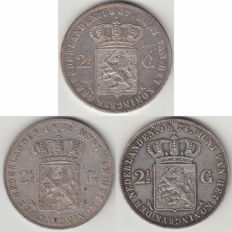 The Netherlands – 2½ guilder 1867, 1872 and 1874 Willem III - silver
