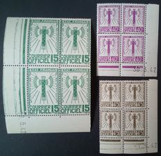 France 1943 – Service, 3 blocks of 4 corner-dated, Signed Calves with digital certificate – Yvert no. 3, 11 and 14.
