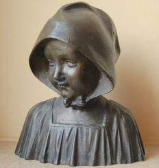 Bronze bust of a girl with hood - Belgium - first half 20th century