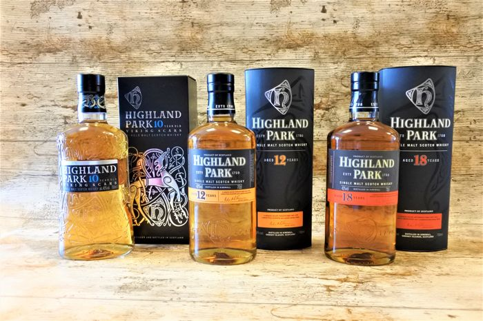 Highland Park 10 YO - 12 YO - 18 YO - in original boxes - 3 Bottles