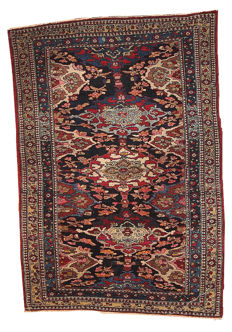 Hand made antique Persian Isfahan rug 4.3' x 6' ( 131cm x 183) 1900s