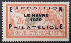France 1923 - Le Havre philatelic exhibition, signed Brun and Calves with digital certificate - Yvert No. 257A