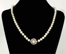 Cultured akoya pearl necklace with a 585 white gold clasp with 6 rubies and a pearl