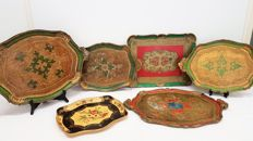Venetian serving trays - six pieces