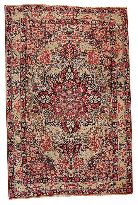 Hand made antique Persian Kerman Lavar rug 4.1' x 6.3' ( 125cm x 192cm ) 1880s