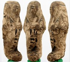 Egyptian clay shabti of the god father of Amun, Hor, justified. - ca. 9,3 cm c. 3,66 inches