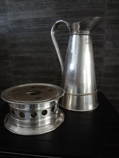 Silver plated table warmer & silver plated water jug - old hotel silver