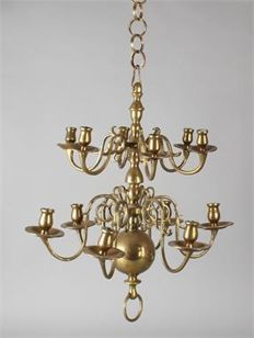 French heavy brass candle chandelier, 12-lights, Renaissance style. Ca. 1900.