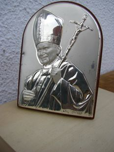 Pope John Paul II in silver - 20th Century