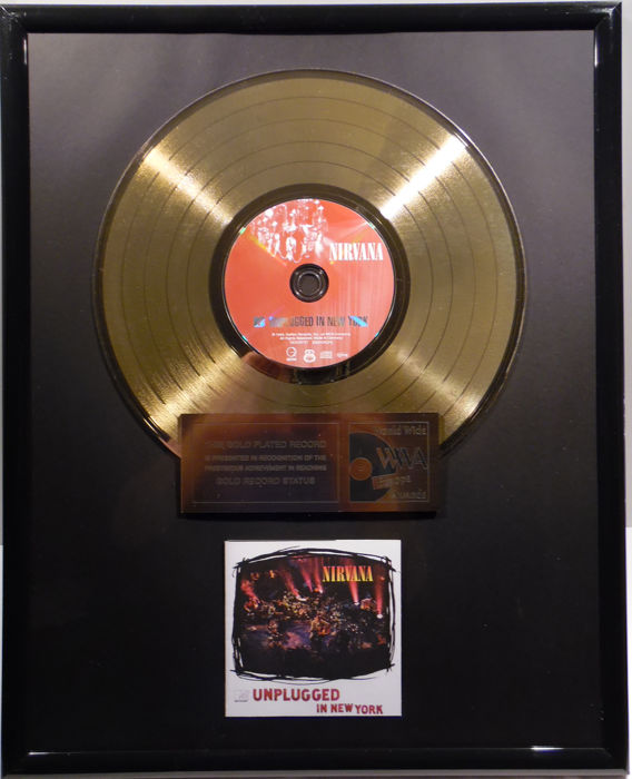 "Nirvana - Unplugged in New York  - 12"" german Geffen gold plated record by WWA Awards"
